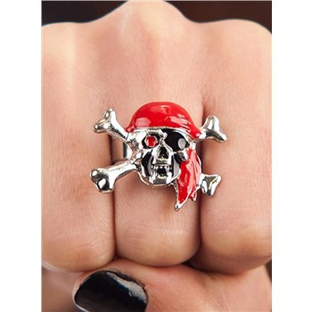 Anello Pirata con Teschio Metallo